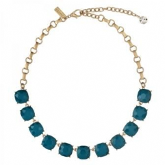 Cushion Cut Stone Necklace Teal